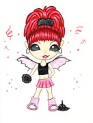 Fantasy Painting Metal Prints - Hot Pink Cheerleader  Metal Print by Elaina  Wagner