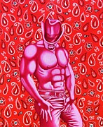 Homoerotic Posters - Hot Pink Cowboy Poster by Joseph Sonday