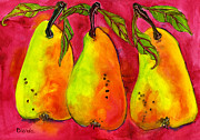 Watercolors Painting Metal Prints - Hot Pink Three Pears Metal Print by Blenda Studio