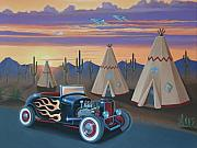 Jets Paintings - Hot Rod at the Wigwams by Stuart Swartz