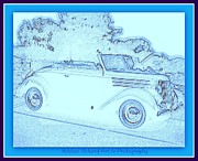 Print On Acrylic Framed Prints - Hot Rod Digi Sketch Framed Print by Bobbee Rickard