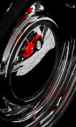 Red Street Rod Prints - Hot Rod Hubcap Print by motography aka Phil Clark