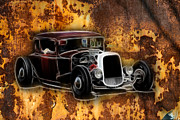 Ford Lowrider Posters - Hot Rod Rust Poster by Steve McKinzie