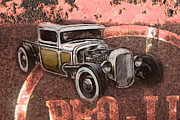 Graffitti Coupe Prints - Hot Rod Sign Print by Steve McKinzie