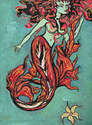 Mermaid Artwork On Canvas Framed Prints - Hot Tuna Framed Print by Tiffany Selig