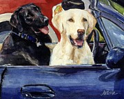 Yellow Labrador Retriever Paintings - Hot Wheels by Molly Poole