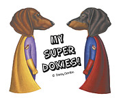 Cute Dogs Drawings Framed Prints - Hotdogs of Justice Framed Print by Danny Gordon