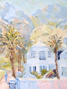 Palm Trees Fronds Originals - Hotel and Table Mountain by Elinor Fletcher