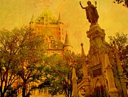 Rick Todaro Prints - Hotel Chateau Frontenac and  Statue Print by Rick Todaro