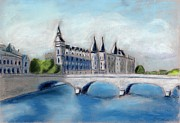 Paris Pastels Prints - Hotel de Ville Paris Print by Carmela Cattuti