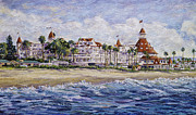 Famous Hotel Paintings - Hotel Del Beach by Sue Tushingham McNary