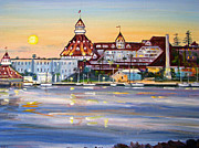 Restore Paintings - Hotel del Coronado at Sunset Yacht Harbor by Robert Gerdes