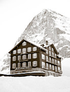 Climbing Posters - Hotel Des Alpes And Eiger North Face Poster by Frank Tschakert