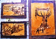 Wall Pyrography Originals - Hotel Elk-elk wood pyrography by Egri George-Christian