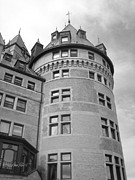Black And Whit Prints - Hotel Frontenac Quebec City Print by Ann Powell