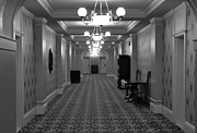 Black And White Photography Painting Metal Prints - Hotel Hallway Metal Print by Kirt Tisdale