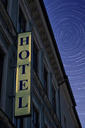 Stop Sign Photos - Hotel Sign At Night by Antony McAulay
