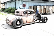 White Walls Framed Prints - Hotrod Ford Framed Print by Steve McKinzie