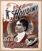 Harry Houdini Photos - HOUDINI KING of CARDS  1895 by Daniel Hagerman