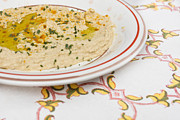 Table Cloth Metal Prints - Houmous Metal Print by Tom Gowanlock