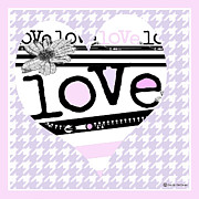 Amor Mixed Media - Houndstooth Love in Pink by ArtyZen Studios