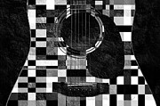 Guitar Mixed Media Posters - Hour Glass Guitar Random BW Squares Poster by Andee Photography
