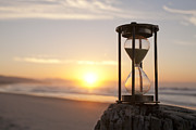 Timer Posters - Hourglass Sand Timer Beach Sunrise Poster by Colin and Linda McKie