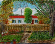 Fall Colors Autumn Colors Pastels Posters - House Across the Street Poster by Andrew Pierce