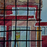Embracing Painting Posters - House Behind the Wire Mesh Poster by Andre Salvador