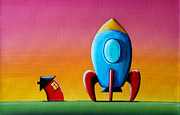 Whimsical Illustration Posters - House Builds A Rocketship Poster by Cindy Thornton