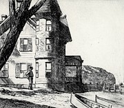 Black And White Prints Drawings Prints - House by a River Print by Edward Hopper