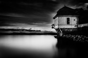 Building Posters - House by the Sea BW Poster by Erik Brede