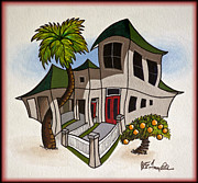 Caricature Mixed Media Prints - House Caricatures For Sale Print by Walt Foegelle