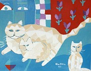 Pet Therapy Posters - House Cats Poster by Allison  Fauchier