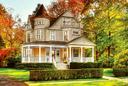 Fall Bushes Prints - House - Cranford NJ - Victorian Dream House Print by Mike Savad