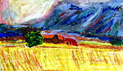 Expressionist Pastels Framed Prints - House in a Field Framed Print by Greg Mason Burns