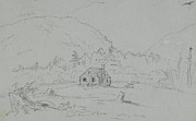 Hills Drawings - House in Mount Desert by  Thomas Cole