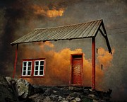 Orange Art Posters - House in the clouds Poster by Sonya Kanelstrand