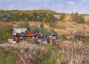 Autumn Landscape Painting Prints - House in Zarechie village Print by Victoria Kharchenko