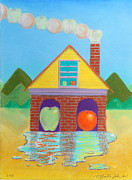 White House Mixed Media Originals - House of Apples and Oranges by R Neville Johnston