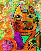 Whimsical Mixed Media Prints - House of Cats series - Blinks Print by Moon Stumpp