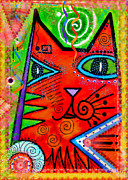 Feline Mixed Media Metal Prints - House of Cats series - Bops Metal Print by Moon Stumpp