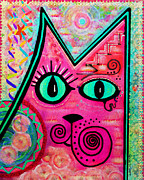 Watercolor And Ink Paintings - House of Cats series - Catty by Moon Stumpp