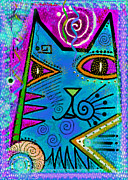 Blue Mixed Media - House of Cats series - Dots by Moon Stumpp