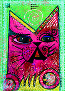 Greeting Mixed Media - House of Cats series - Glitter by Moon Stumpp
