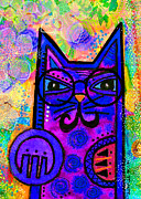 Cat Portraits Mixed Media Prints - House of Cats series - Paws Print by Moon Stumpp