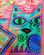 Feline Cat Art Paintings - House of Cats series - Spike by Moon Stumpp