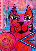 Whimsical Mixed Media Prints - House of Cats series - Tally Print by Moon Stumpp