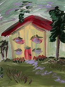 Red Roof Drawings Framed Prints - House of Hugs 2 Framed Print by Mary Carol Williams