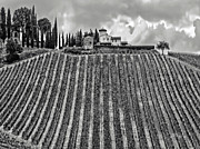 Chianti Framed Prints - House on a Hill-Tuscany-BW Framed Print by Jennie Breeze